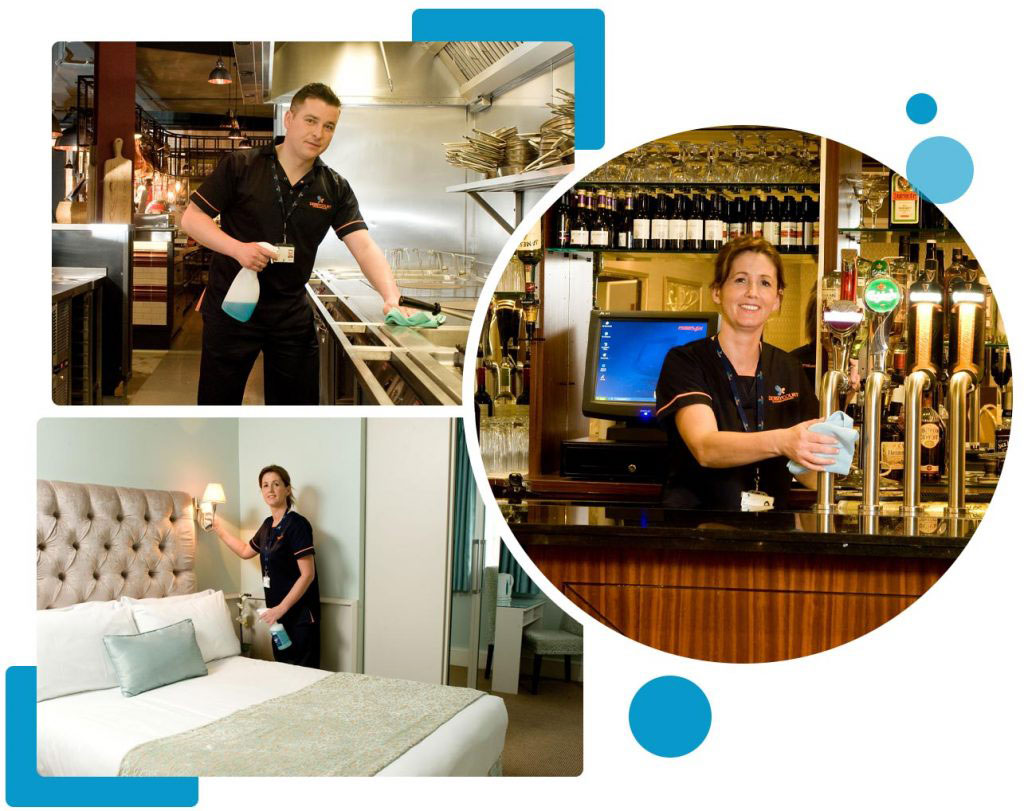 Staff Cleaning Kitchen, Bar and hotel room