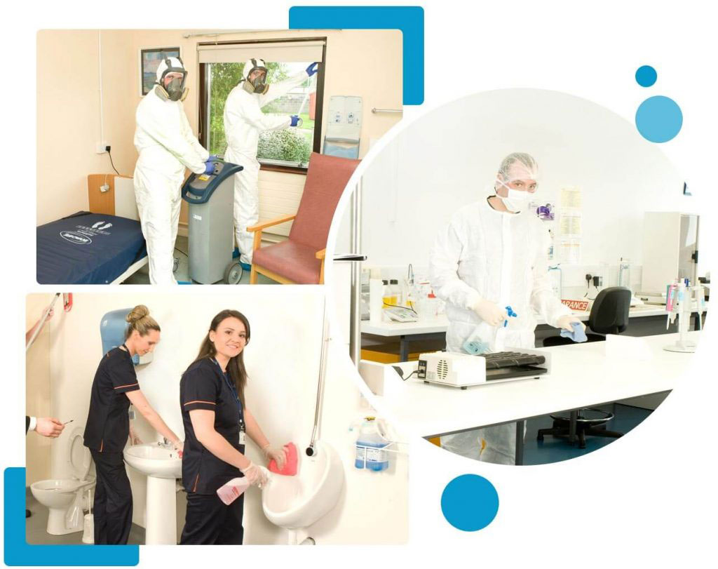 Staff cleaning in hospital, lab and washroom