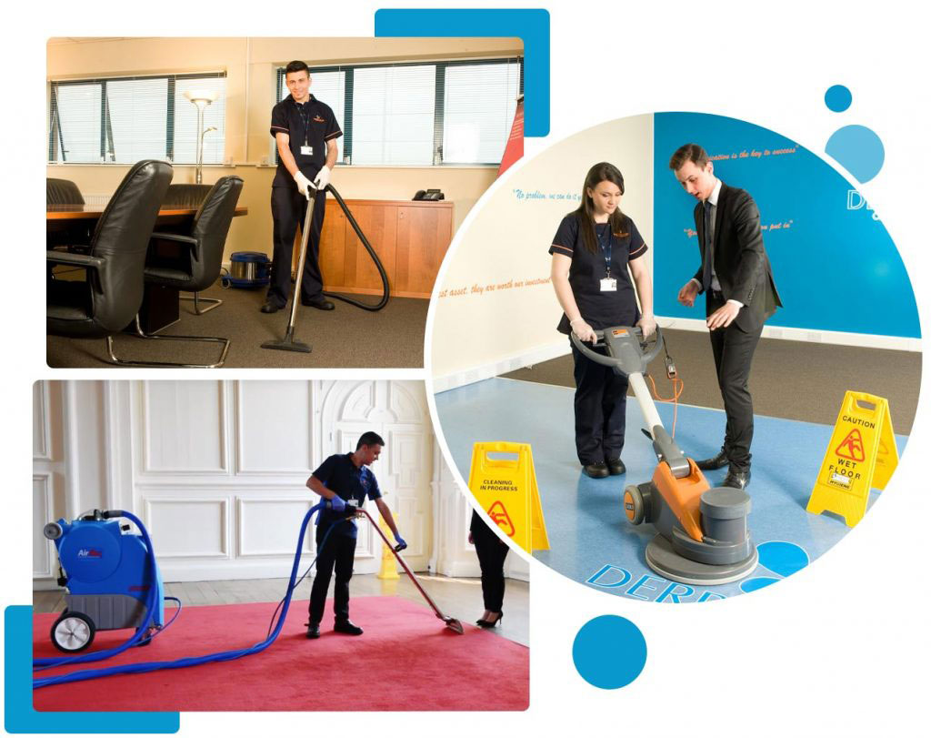 Derrycourt staff cleaning floors in offices.