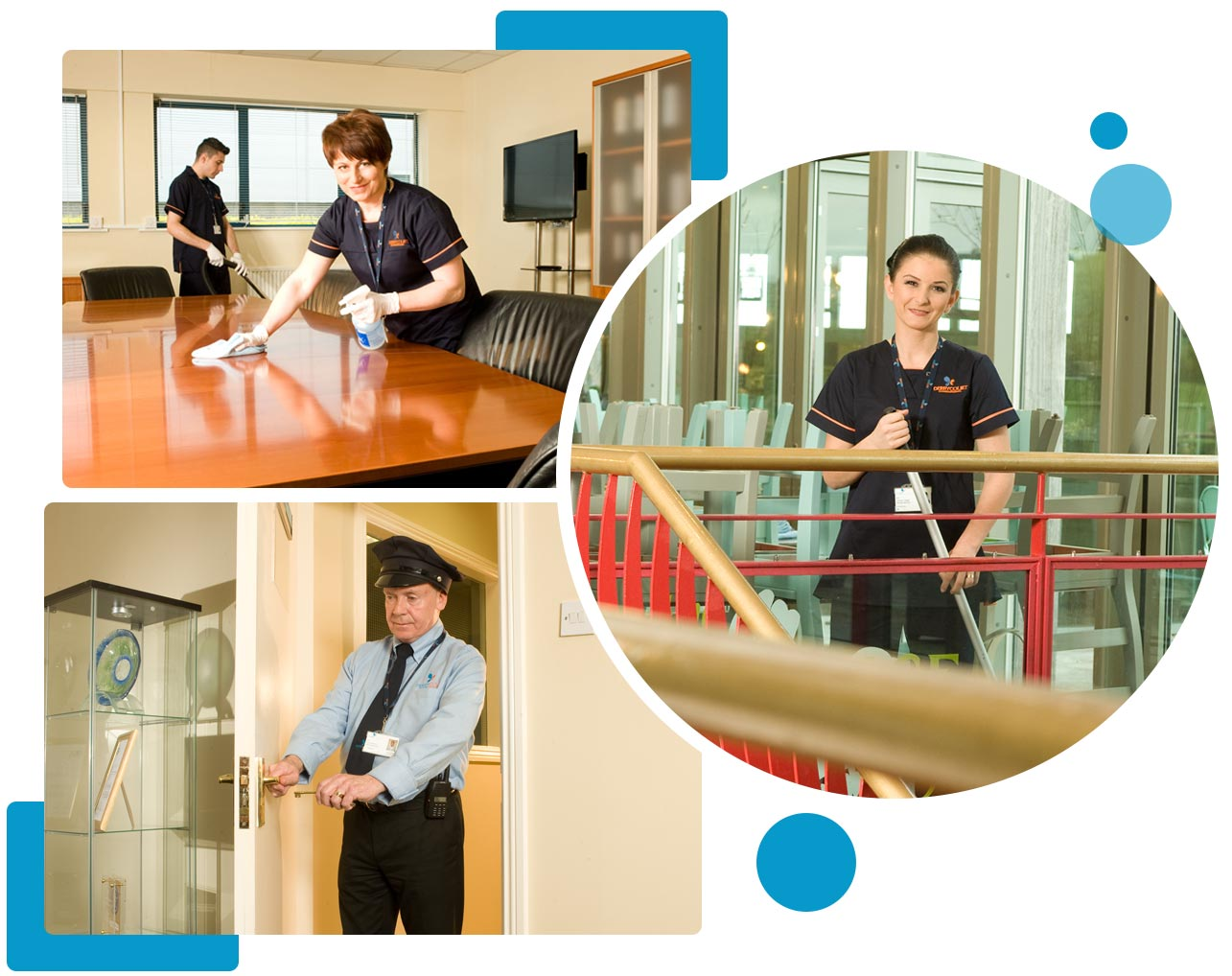 Derrycourt Team Cleaning the Office table and floor, Security staff locking the door