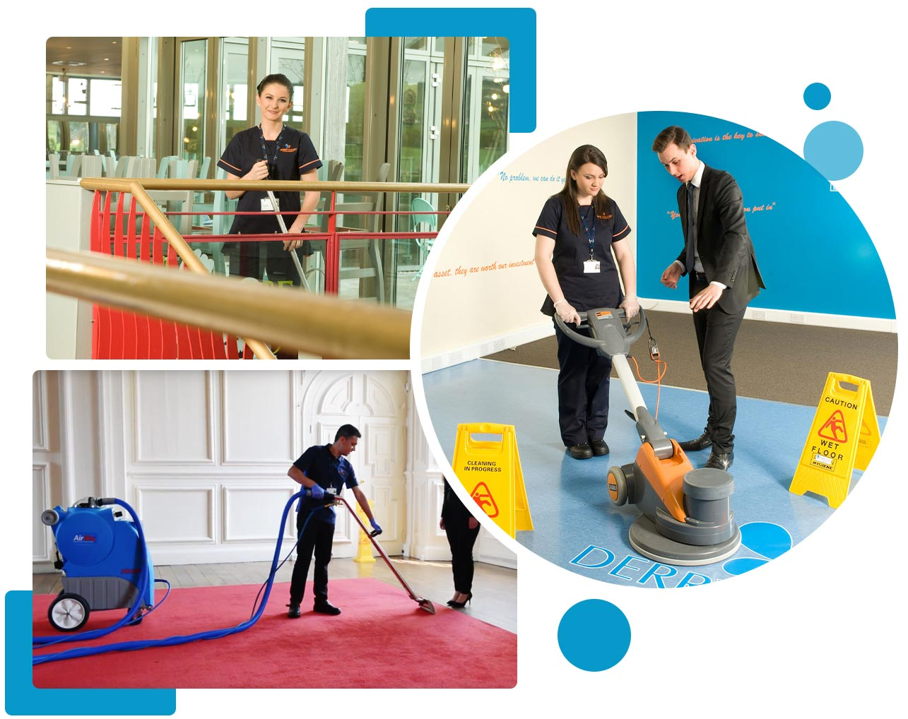 Derrycourt Team Cleaning the Carpet and Floor.